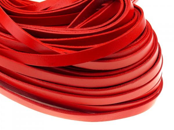 Lederband Flach 1 cm x 2 mm - Rot