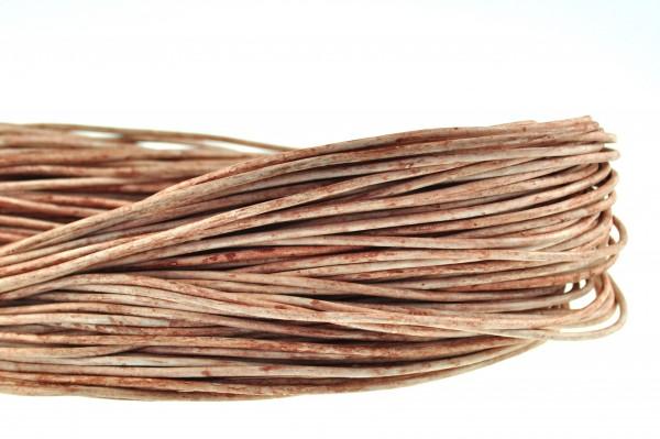 Lederschnur Rund 2 mm - Mesh Elfenbein