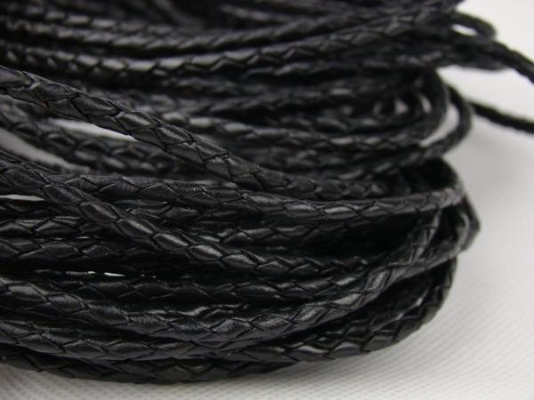 Lederschnur geflochten 5 mm - Schwarz