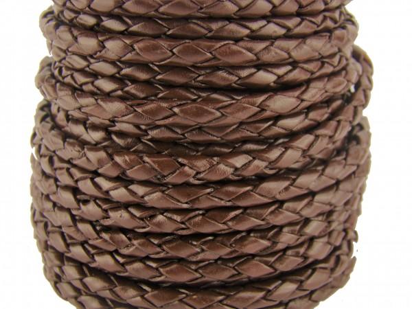 Lederschnur geflochten 4 mm - Braun