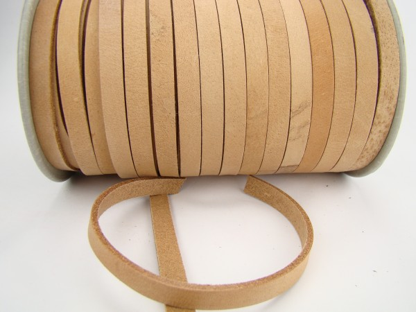 Lederband Flach 1 cm x 2,5 mm - Natur