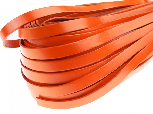 Lederband Flach 1 cm x 2 mm - Orange