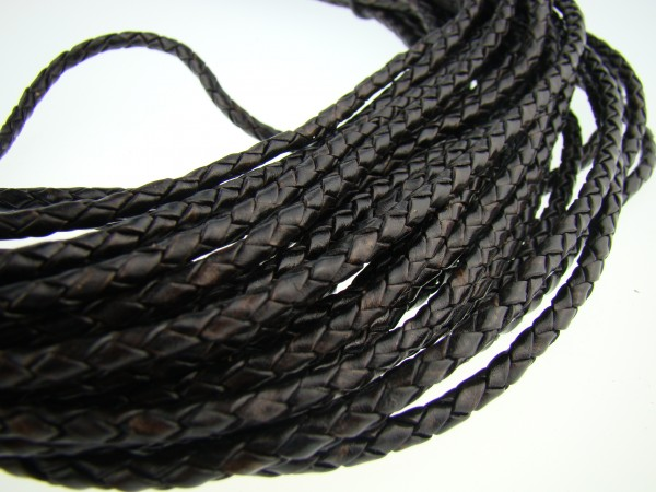 Lederschnur geflochten 4 mm - Antik Schwarz
