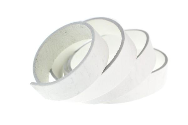 Lederband Flach. Länge: 1 m; Dicke: 2 mm - Weiß