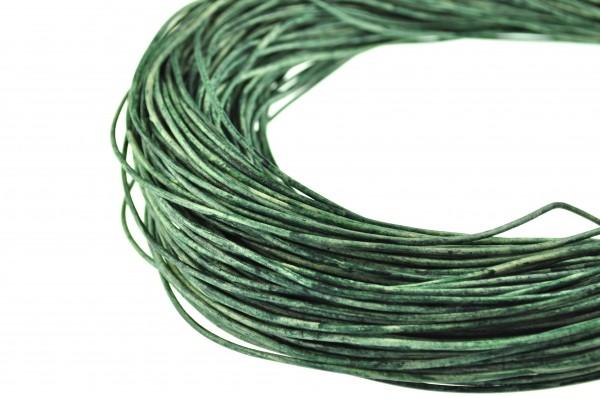 Lederschnur Rund 2 mm - Mesh Basilikumgrün