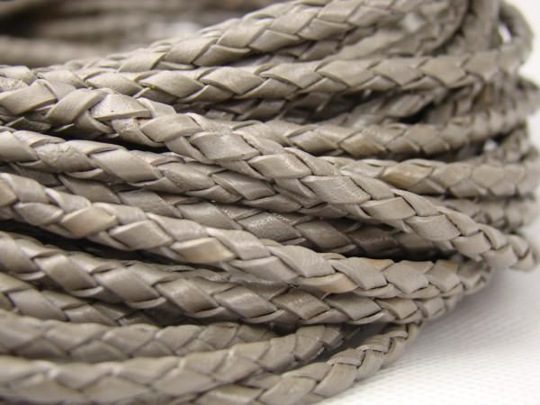 Lederschnur geflochten 3 mm - Grau