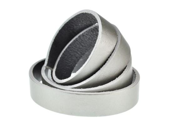 Lederband Flach. Länge: 1 m; Dicke: 2 mm - Silber