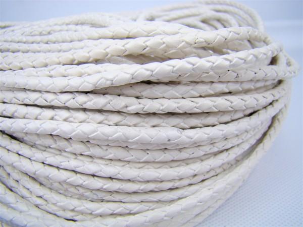 Lederschnur geflochten 3 mm - Weiß