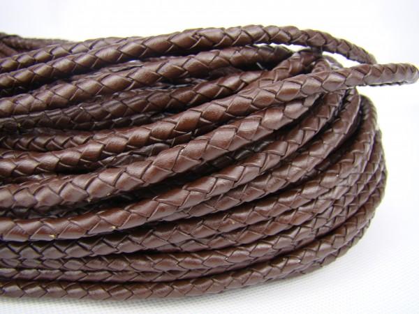 Lederschnur geflochten 5 mm - Braun
