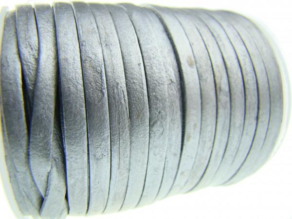 Lederband Flach 3 x 1 mm - Silber