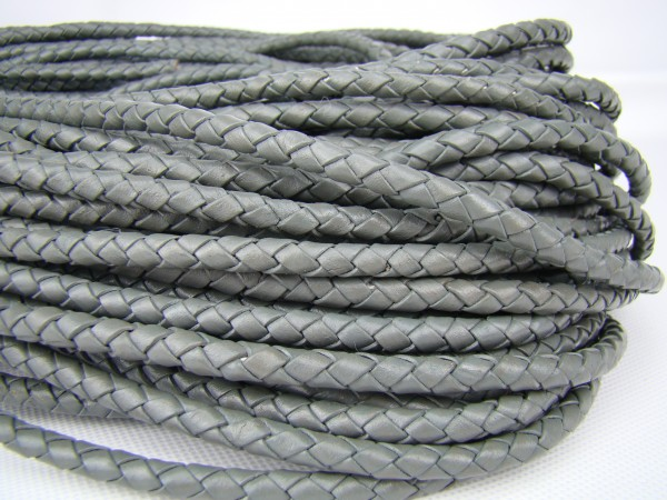 Lederschnur geflochten 5 mm - Grau