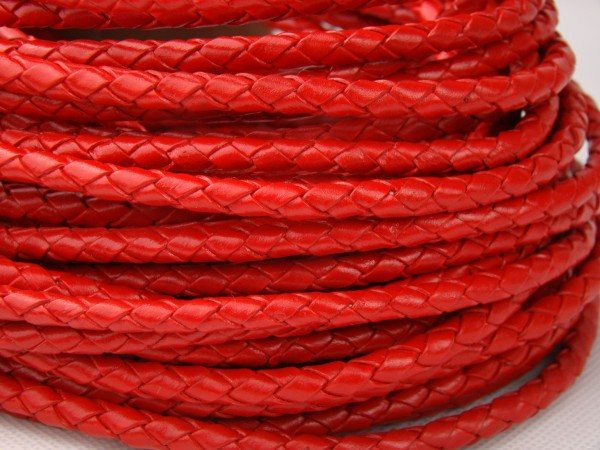 Lederschnur geflochten 5 mm - Rot