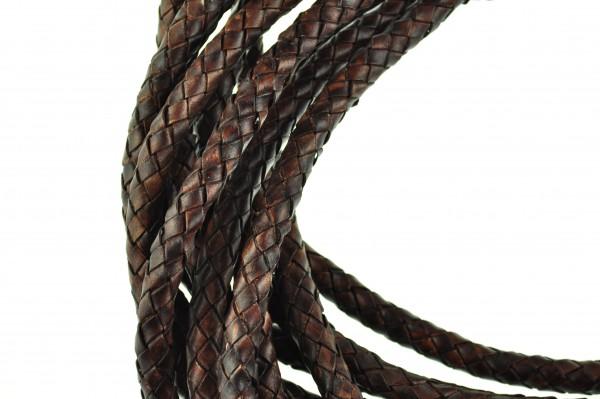 Lederschnur geflochten 5 mm - Antik Braun
