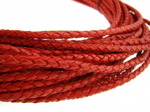 Lederschnur geflochten 4 mm - Rot