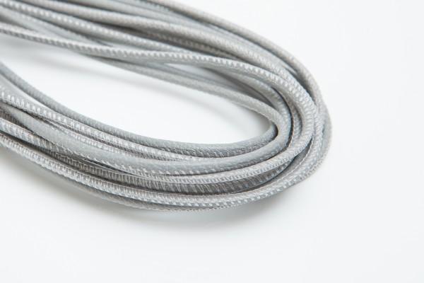 Lederschnur Rund gesäumt 2,5 mm - Grau