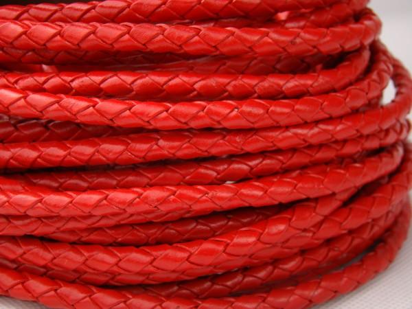 Lederschnur geflochten 3 mm - Rot