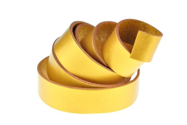 Lederband Flach. Länge: 1 m; Dicke: 2 mm - Gold
