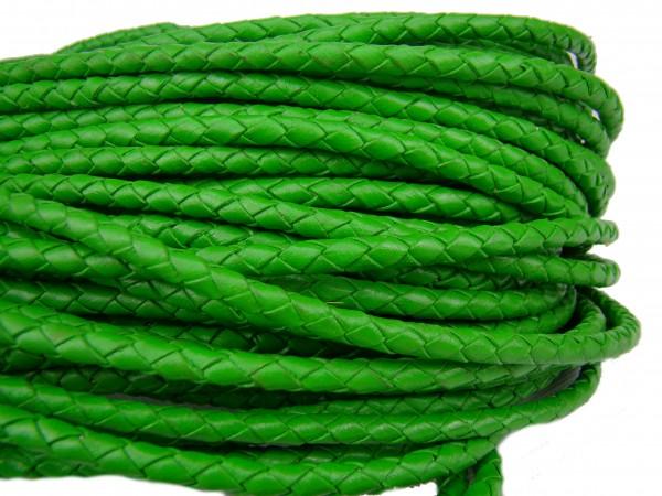 Lederschnur geflochten 5 mm - Grün
